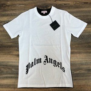 Palm Angels Men White&Black Fabric T-Shirt